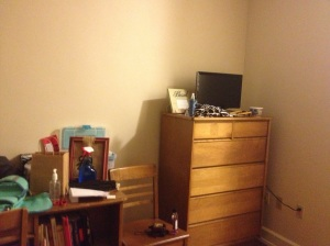 The right side of my room, with my TV. (currently tuned to Duck Dynasty, I might add)